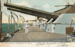 USS Missouri showing 13 guns , 1907