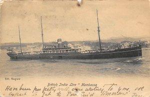 Mombassa British India Steam Navigation Co Ship Postal Used Unknown