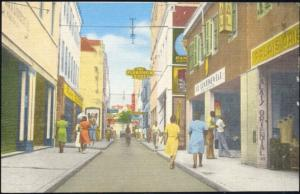 curacao, D.W.I., WILLEMSTAD, Heerenstraat, Shops (1950s)