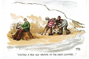 postcard comic VISITING A FEW OLD HAUNTS unposted