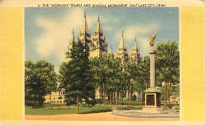 Mormon Temple and Seagull Monument - Salt Lake City, Utah - Linen