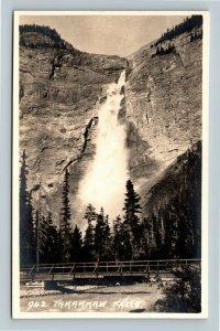 RPPC of Banff AB, Takakkaw Falls, Alberta Canada Postcard