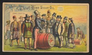 VICTORIAN TRADE CARD Home Light Oil 'Uncle Sam Supplying the World'