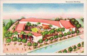 NY World's Fair 1939 Consumers Building Unused Linen Postcard F37