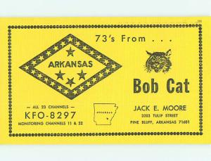 Bobcat - Qsl Ham Radio Card Pine Bluff Arkansas AR t1614