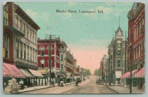 Logansport Indiana~Market Street~Crates Stacked on Sidewalk~Shop Awnings~1912