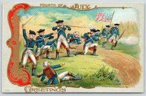 Patriotic~July 4th~Revolutionary War~Washington Leads in Battle~Gold Art Nouveau