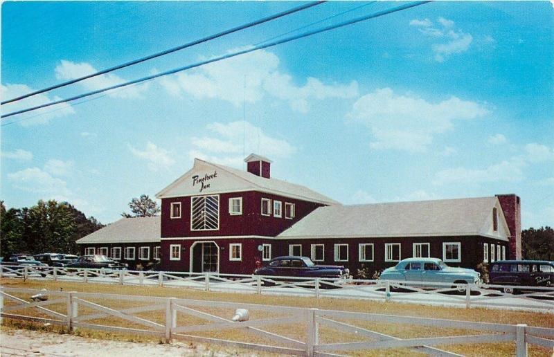 Macon Georgia~Pine Brook Inn and Motel~Company Station Wagon~1950s Cars~Postcard