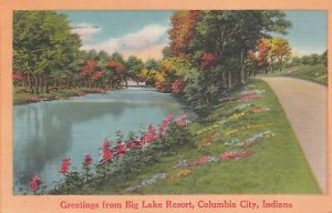 G2631 IN, Columbia City Big Lake Resort Postcard