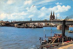 Koeln Dom und Rhein Deutzer Bruecke Bridge River Fishing Boats Cathedral