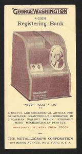 VICTORIAN TRADE CARD Metallograph 'George Washington' Registering Bank