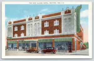 Whiting Indiana~New Illiana Hotel~Ground Floor Lunch Room~Vintage Car~1930 Linen
