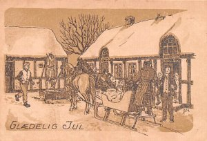 New Years Post Card Glaedelig Jul Winter Scene Writing on Back