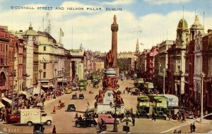 UK - Ireland, Dublin. O'Connell St and Nelson Pillar.  (crease in lower right)