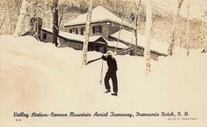 Franconia Notch NH Ski Area Cannon Mtn. Aerial Tramway Valley Station Postcard