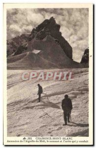 Old Postcard Chamonix Mont Blanc Ascent of Aiguille du Midi Summit and the ri...
