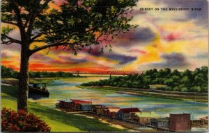 VINTAGE c1940 LINEN POSTCARD ~ Sunset on the Mississippi River ~ Military Posted