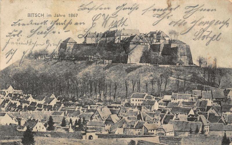 Bitsch im Jahre 1867 Castle Village General view Postcard