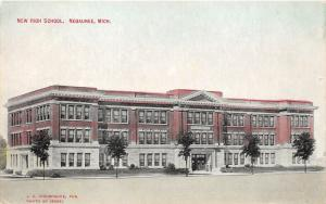 Negaunee Michigan~New High School Building~Couple @ Doorway~c1910 Postcard