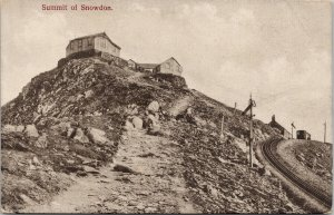 Summit at Snowdon Wales Train Person w/ Dog Unused Francis Postcard F82