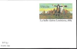 US UX95 Mint - La Salle claims Louisiana, 1682