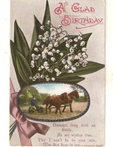 Flowers bouquet. Working horses Old vintage English Birthday Greetings PC