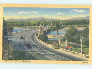 Unused Linen BRIDGE SCENE Riverside - Los Angeles California CA H8084