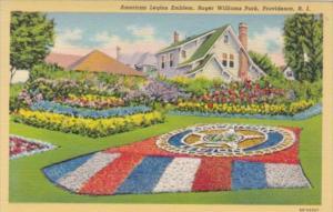 Rhode Island Providence American Legion Emblem Roger Williams Park 1941 Curteich