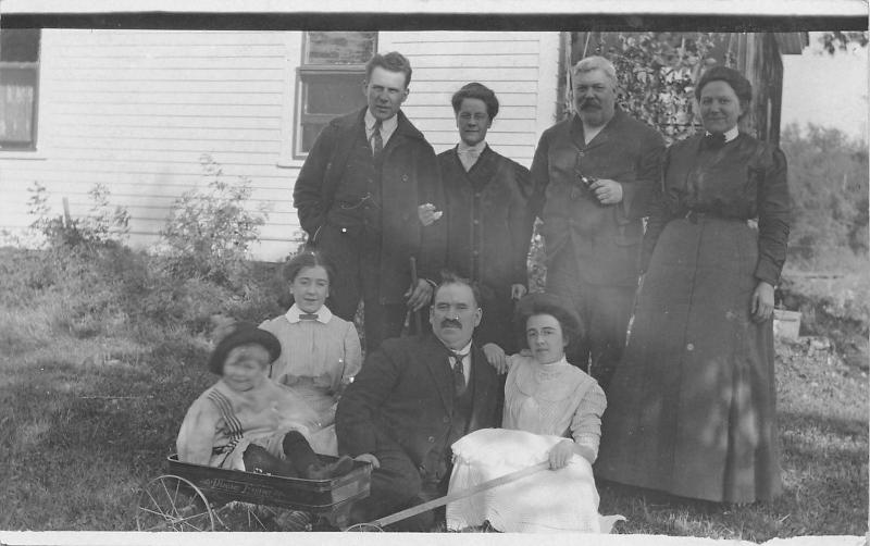 Family Photo~Child in Pioneer Express Toy Wagon~Farm House~1915 Real Photo~RPPC