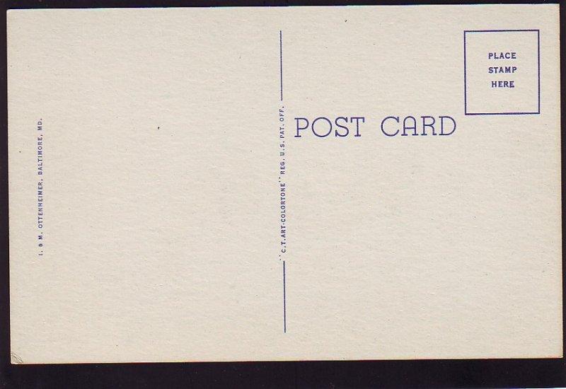 P1582 vintage unused postcard birds eye view preston gardens baltimore maryland