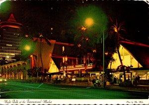 Hawaii Waikiki Night Falls At International Market Place 1976