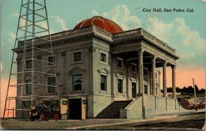 San Pedro California~Huge Tower @ City Hall~Horseless Fire Engine & Firemen 1914