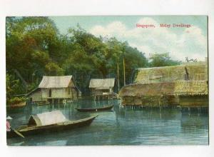 271014 SINGAPORE Malay Dwellings Vintage Wilson & Co postcard