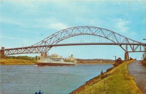 Sagamore~Cape Cod MA~Ship Under Sagamore Bridge Over Cape Cod Canal~1950s PC