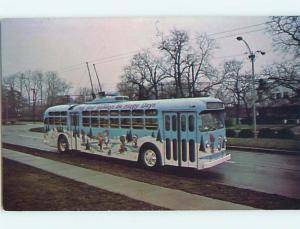Unused 1974 CHRISTMAS TROLLEY PAINTED BUS Dayton Ohio OH Q8068