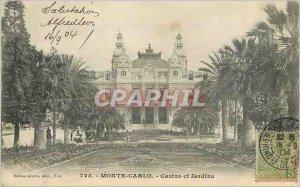 Old Postcard MONTE CARLO - Casino and Gardens