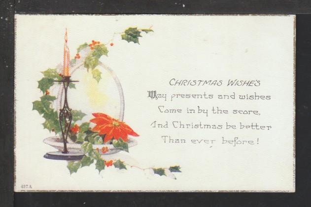 Christmas Wishes,Poinsettia Postcard