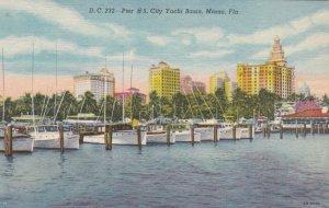 Florida Miami Pier #5 City Yacht Basin Curteich sk7146