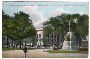 Lynn, Mass, City Hall and Square, Showing Public Library and Soldiers' Monument