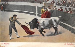 El Matador Tarjeta Postal Bullfighting Mexico Pink stain on back