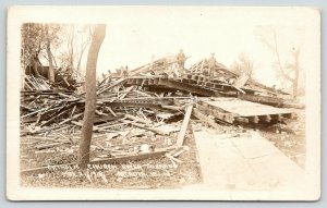 Arcadia Iowa~Catholic Church Completely Destroyed in Tornado~MARCH 21,1918 RPPC
