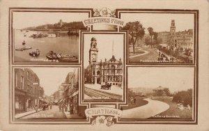 CHATHAM River Medway High St Paddock & Victoria Gardens UK Postcard c1910s RPPC