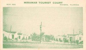 Riviera Florida Miramar Tourist Court Vintage Non PC Back AA24267