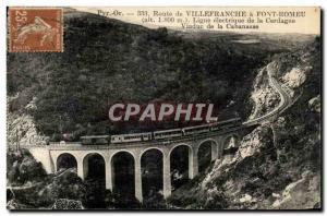 Postcard Old Road has Villefrance Font Romeu Line Electric Cerdagne Viaduct C...