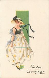 MHS~ART DECO~Pretty Lady~Easter Finery~Lace Pantaloons~Black Ribbon Hat~Gibson