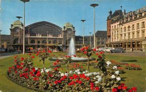 Switzerland Basel Bahnhof La Gare Fountain Vintage Cars Station Postcard