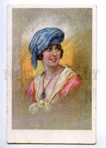 189653 Charming Woman w/ Lavalier Vintage Color postcard