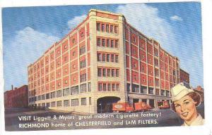 ADV: Liggett & Myers' Geat Modern Cigarette Factory, Richmond, Virginia, PU-1958