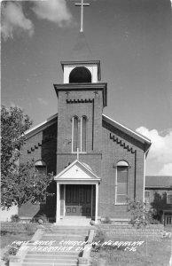 G32/ Nebraska City Nebraska RPPC Postcard c1940s First Brick Church Nebraska