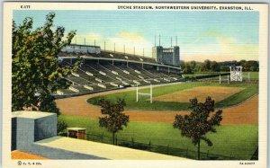 1940s NORTHWESTERN UNIVERSITY Postcard DYCHE STADIUM Football Curteich Linen